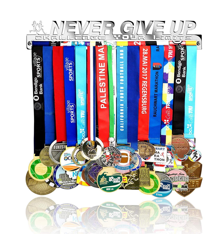 Never Give Up and Challenge Your Limits Medal Hanger Stainless Steel Medal Hanger Holder Holder Display Rack All Sports