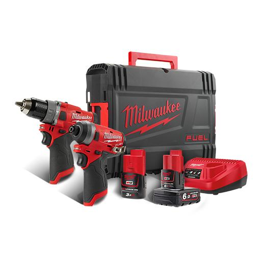LIMITED TIME PROMO: MILWAUKEE M12 FUEL 2-Tool Combo Kit - 13mm Hammer Drill Driver & Impact Driver M12FPP2A-632X