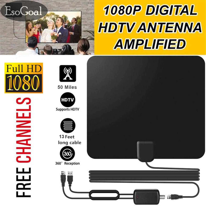 EsoGoal Digital HDTV Antenna, Indoor Amplified TV Antenna Aerial 40-50  Miles Range With Detachable Amplifier Signal Booster TV Radius Surf and 13  Feet