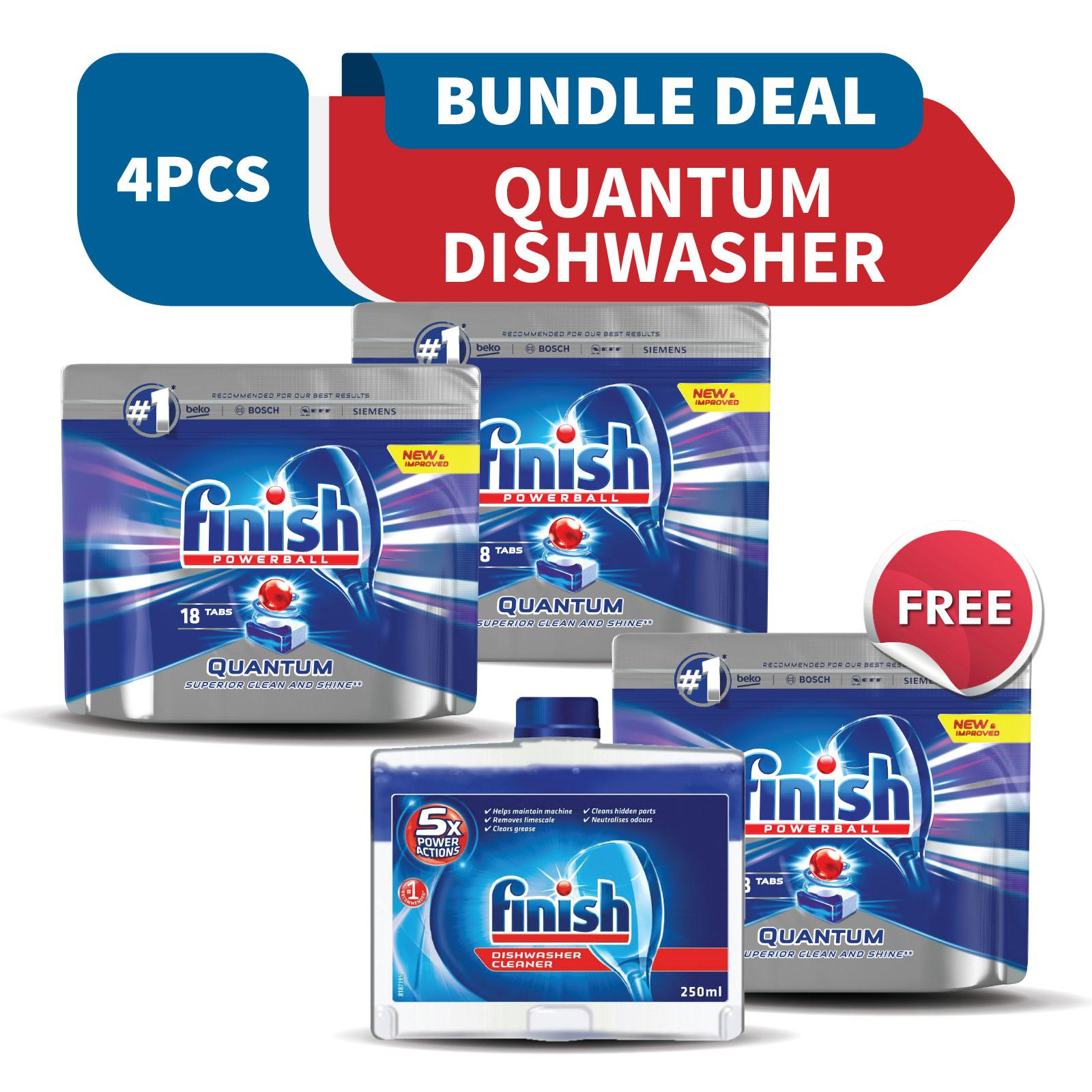Finish Quantum Max Super Charged Powerball Dishwasher Tablets 36 Tabs + Free 18 Tabs & Finish Machine Dishwasher Cleaner By Rb Home.
