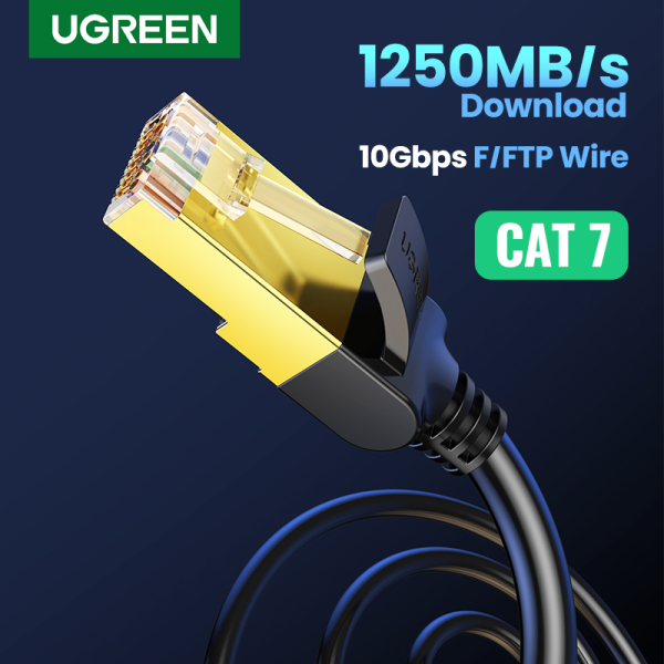 UGREEN Round Cat7 Ethernet Cable RJ 45 Network Cable FTP Lan Cable Cat 7 RJ45 Patch Cord  for Router Laptop Cable Ethernet,Black-Round Version