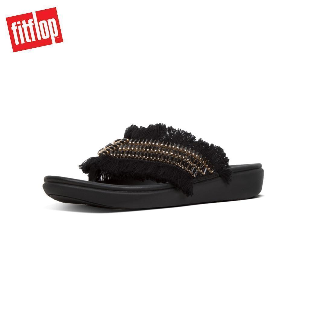 42a51cc9e Fitflop™ Ava Crystalstone Fringy Black Women Slippers