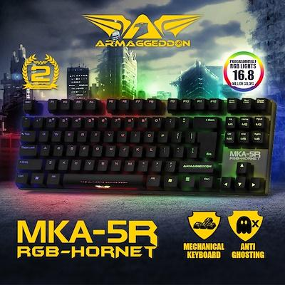 Armaggeddon MKA-5R (New) Fully Macro-able RGB Programmable 16.9 Million Multicolour Backlight Gaming Keyboard Mechanical Gaming Keyboard Adjustable Response Time 1ms to 16ms Anti-Ghosting Light Aluminium Panel Cable Cord 1.8m Singapore