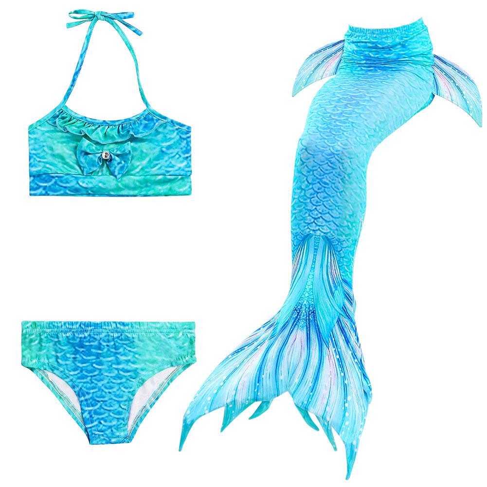 00f5878b80a60 Magic Cube  FreeShipping  3Pcs Set Kids Girls Bikini Mermaid Tail Swimsuit