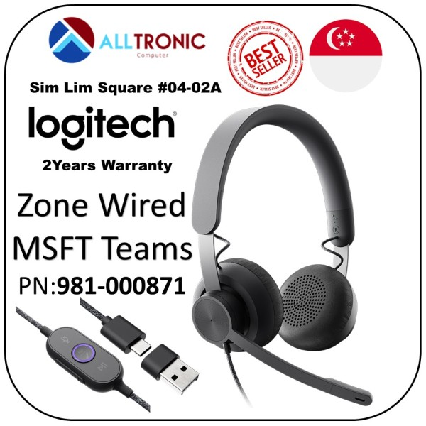 Logitech Zone Wired Headset Microsoft Teams P/N: 981-000871 / MSFT Teams Zone Wired