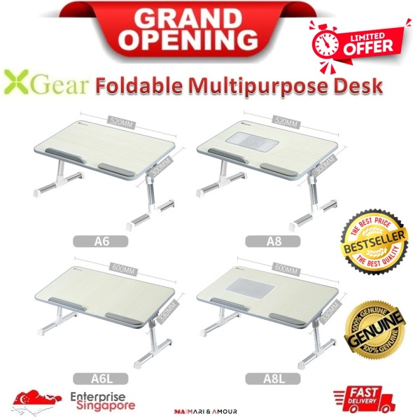 [SG Stock] XGear A6 A6L A8 A8L Laptop Table Laptop Stand Tablet Table Lap Desk Study Table Bed Table Standing Desk Lap Tray Foldable Portable Adjustable Height & Angle w/ or w/o Cooling Fan Ergonomic Office Standing Writing Workstation w/ or w/o USB Fan