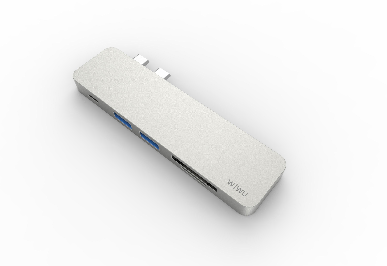 WiWu Type-C Hub (USB 3.0 x 2, PD x 1, TF x 1, SD x 1)