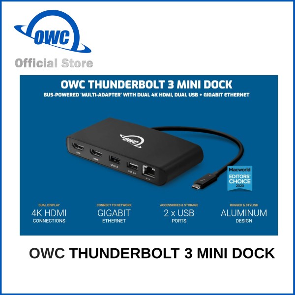 [OWC Official Store] OWC Thunderbolt 3 mini Dock. 'MULTI-ADAPTER' WITH DUAL 4K HDMI, DUAL USB + GIGABIT ETHERNET, BUS-POWERED.  Local Warranty 1 Year
