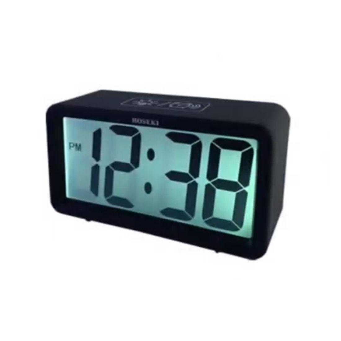 Hoseki H-2300BK H-2300 Black Rectangle LCD Digital Desk Alarm Clock