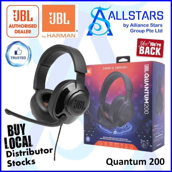 (ALLSTARS : We Are Back Promo) JBL Black Quantum 200 Wired Over-Ear Gaming Headset (JBLQUANTUM200BLK) (Warranty 1year with IMS) Singapore