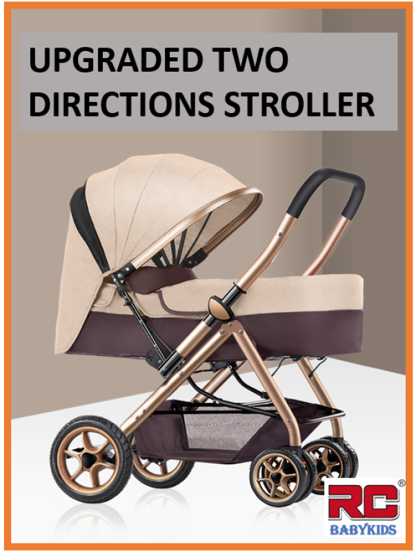 RC-Babykids 2020 Baby Stroller New Version 2 Way Reversible Newborn Baby Folding Stroller Children Travel Buggy Infant Pram Kid Pushchair Carriage Front Back Facing, 4 Wheels Shock Absorber Fordable Can Lay Flat Singapore