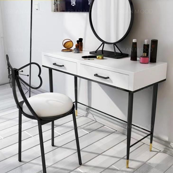 REBANIS Contemporary Black White Vanity Table Chair