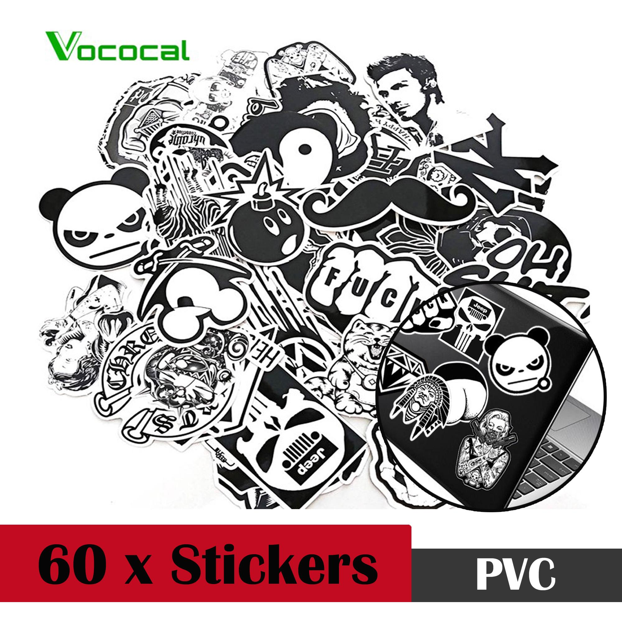 Vococal 60 Pcs Black White Waterproof Removable Skateboard Guitar Travel Case Car Motorcycle Bike Laptop Sticker Decal Stickers - Intl By Vococal Shop.