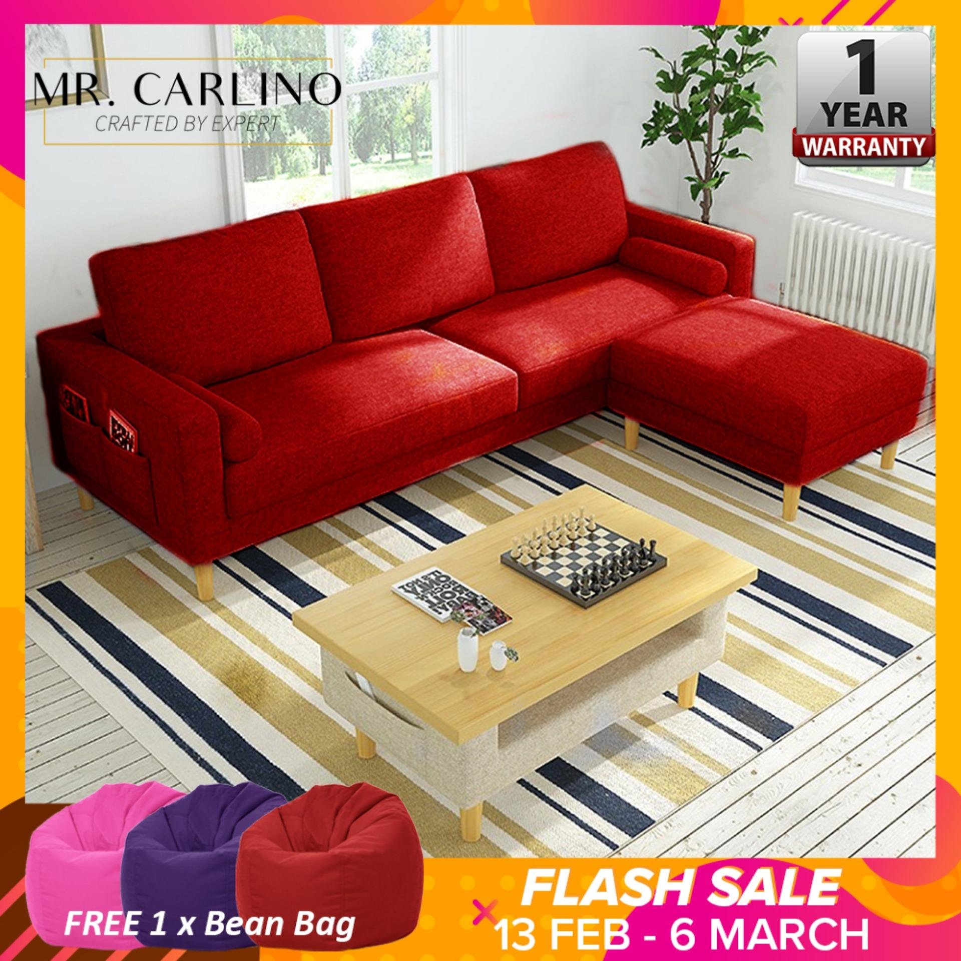 VARGAS 3 Seater Canvas Cloth Home & Living Room L Shaped Sofa With [ 1 YEAR WARRANTY]