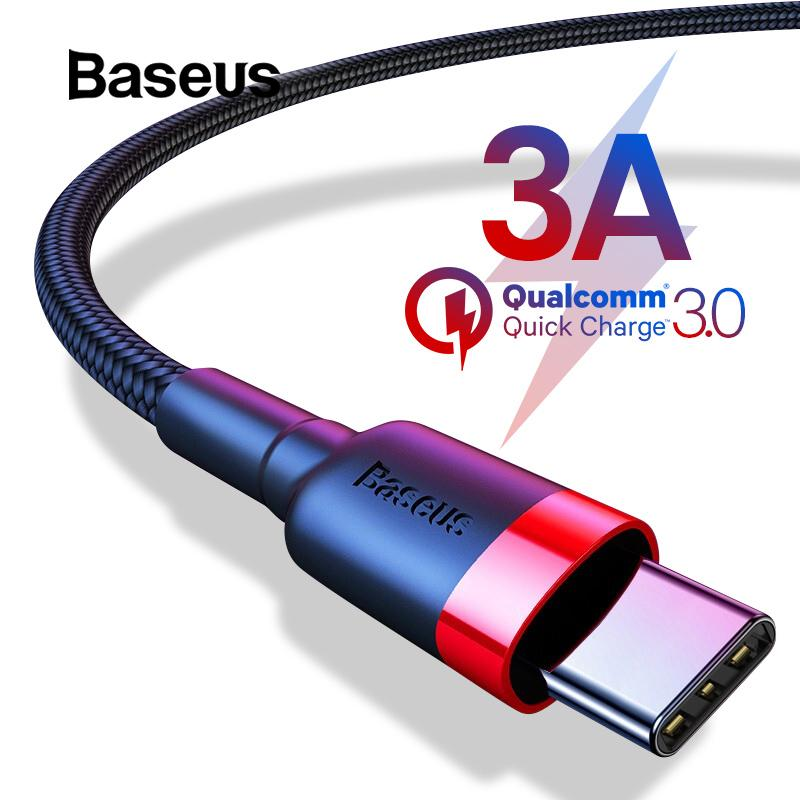 Baseus USB Type C Cable for Samsung S8 Note 8 Quick Charge 3 0 USB C Cable  for Redmi K20 Pro Cable Type-C Fast Charge USB C Wire Notice: 0 5M/1M 3A