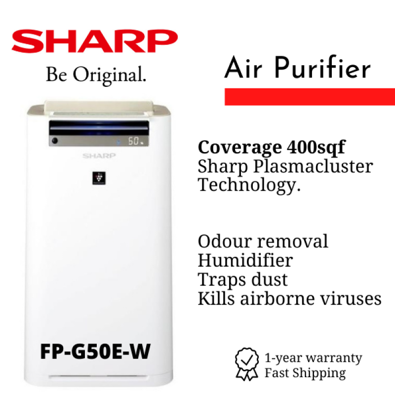 SHARP Air Purifier with Humidifier for room up to 400sqf Plasmacluster Technology FP-G50E-W Singapore