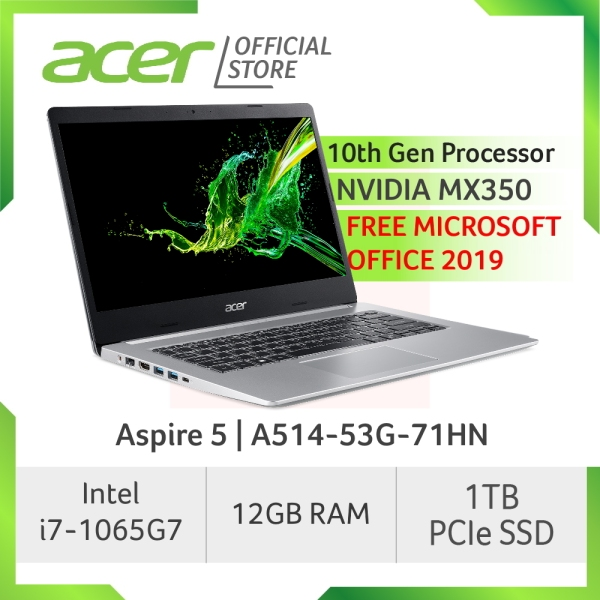 Acer Aspire 5 A514-53G-71HN laptop with 10th Gen Intel Core i7-1065G7 processor with 12GB RAM and Free Microsoft Home and Student 2019