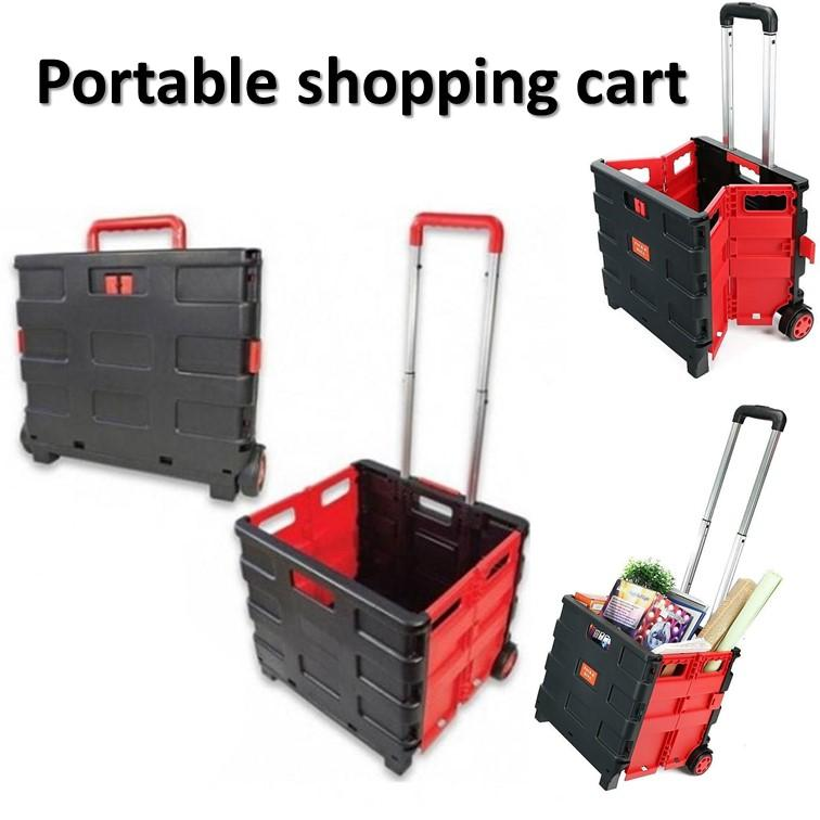 Multifunctional Folding Portable Shopping Cart Home Aluminum Alloy Shopping Cart Trolley Car Luggage Travel Trailer - Intl By Yumyuumm.