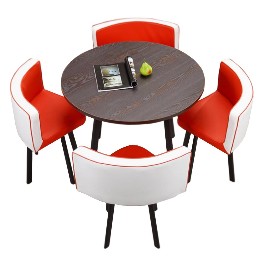 JIJI Spacious Coffee Dining Set - Leather Seat (1 Table W/ 4 Chairs) (Free Installation) Tables / Furniture (SG)