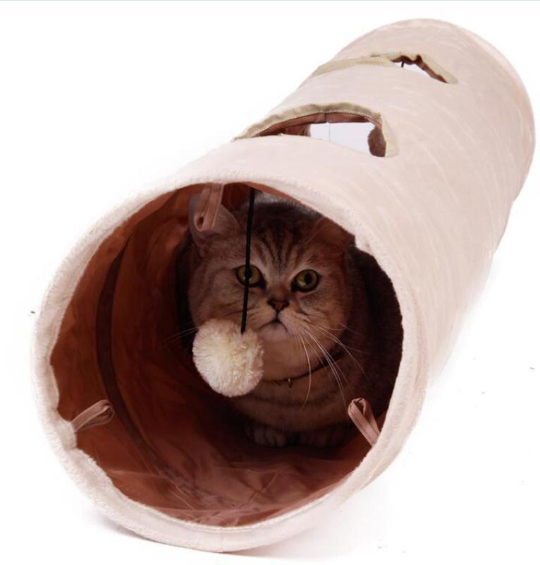 Ổ Cho Thú Cưng Chất Lượng Cao Dài 120Cm 2 Lỗ Mèo Con Thỏ Trêu Ghẹo Đồ Chơi Đường Hầm Vui Nhộn Với Bóng Đường Hầm Cho Mèo Gấp Được