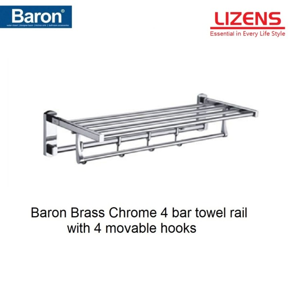 Baron towel rack, 4 bar with movable 4 hooks, Brass Chrome 60cm