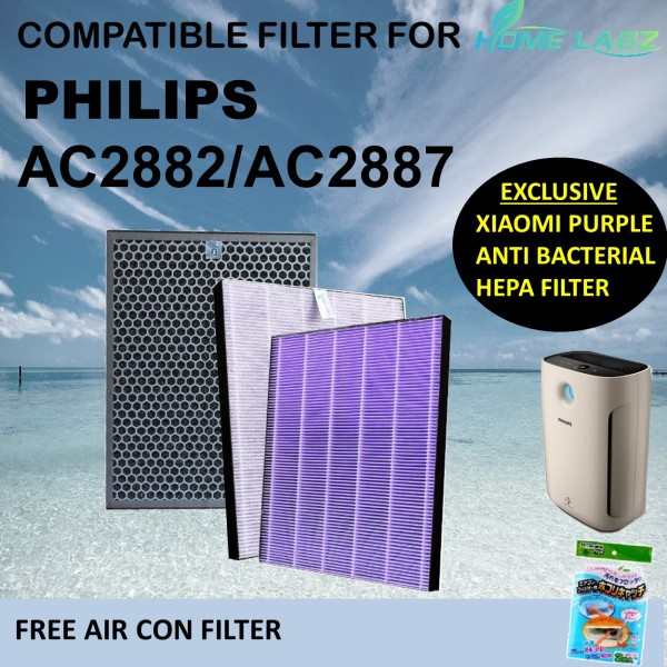 Philips Air Purifier AC2882 AC2887 FY2422 FY2420 Compatible HEPA & Carbon Filters (XIAOMI ANTI BACTERIAL PURPLE FILTER) Singapore