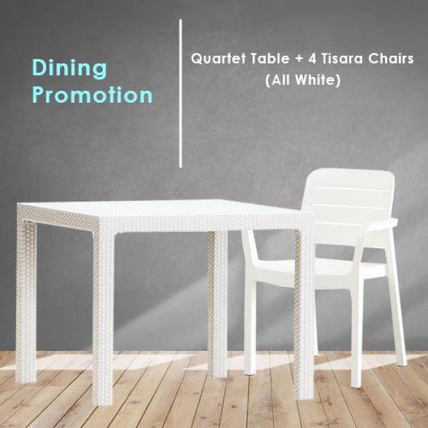 Quartet Table + 4 Tisara Chairs