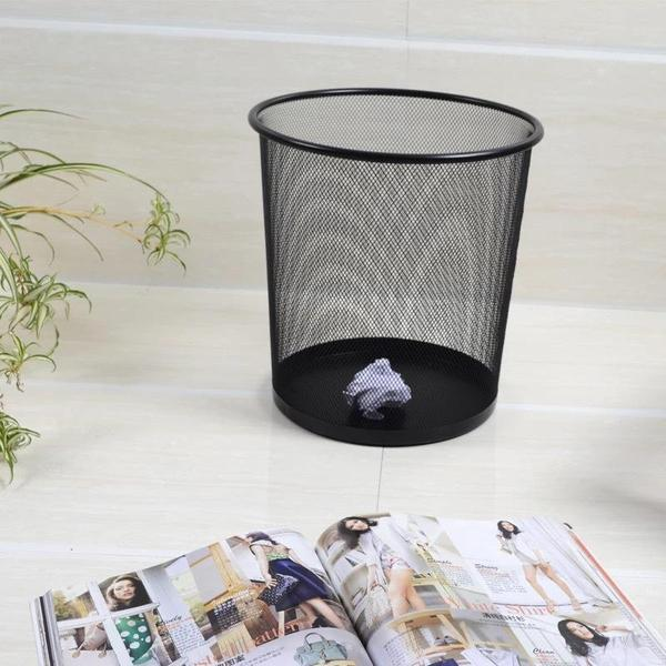 Modeco Black Wire Mesh Round Waste Paper Basket 23l In High Finish (large) By Hippomart.sg.