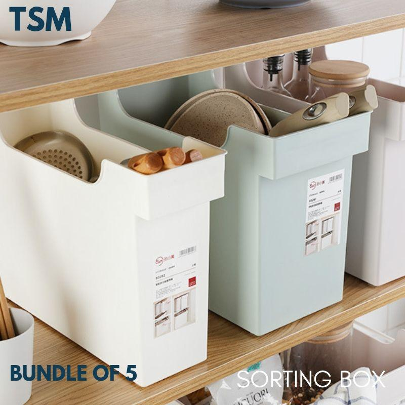 TSM Bundle of 5 Sorting Plastic Storage Box with Wheels for Kitchen Office Document File  Desk Livng Space Savers