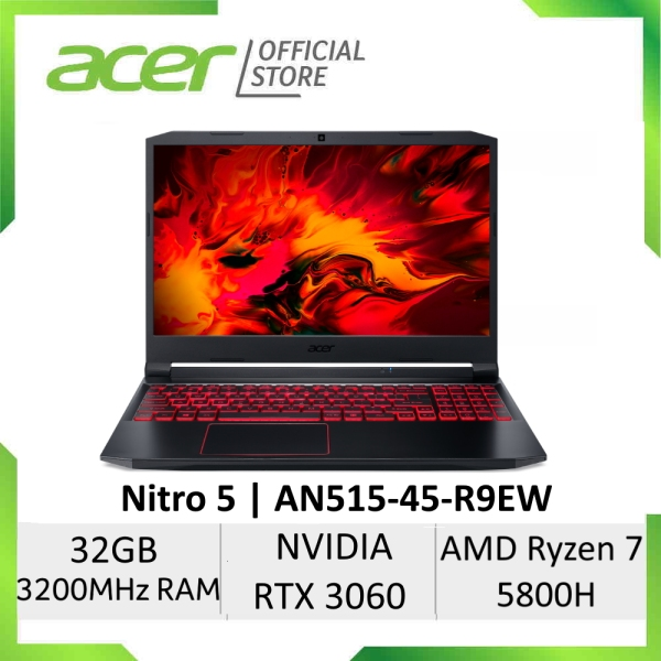 [Ryzen 7 5800H And NVIDIA RTX 3060] Acer Nitro 5 AN515-45-R9EW 15.6 Inches FHD IPS 144Hz Gaming Laptop | NVIDIA RTX 3060 | AMD Ryzen 7 5800H Processor | 32GB RAM