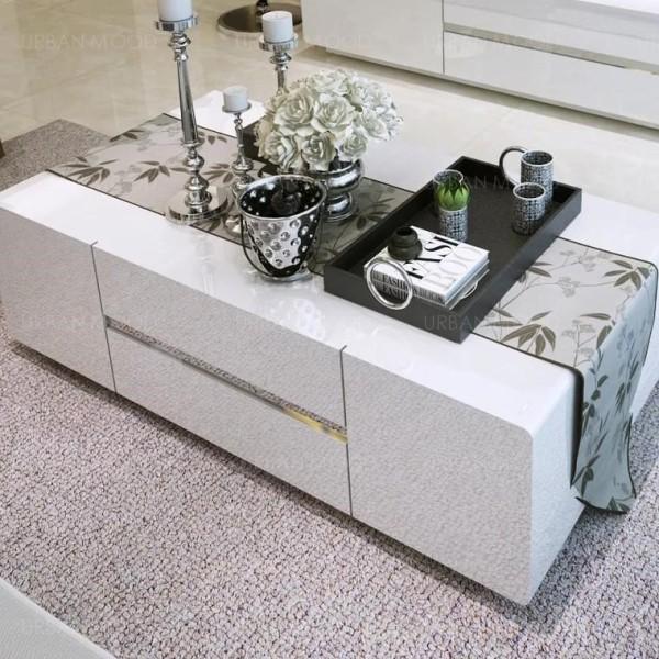 [PRE-ORDER] AIDA Contemporary Glossy Piano White Coffee Table