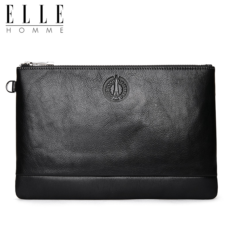 Elle homme New Style Men Leather Clutch Bag Business Casual Youth Clutch Bag Full-grain Leather Envelope