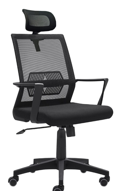 Baycus M-38 Mid Back Mesh Chair with Adjustable Headrest | Student Mesh Chair | Black Mesh Chair suitable for Home Office | Black Office Swivel Chair Singapore