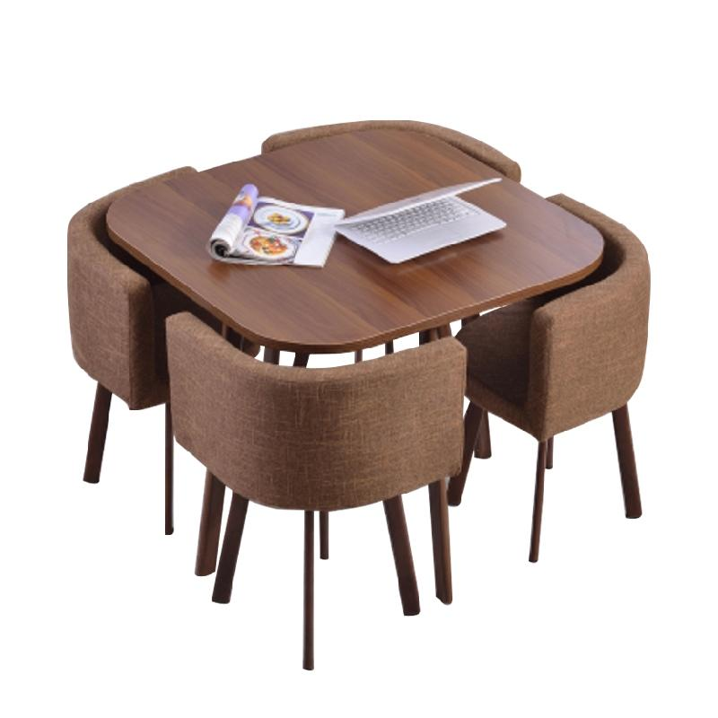 JIJI Blake Square Dining Set (Free Installation) - Fabric Seat (1 Table W/ 4 Chairs) / Dining Furniture / Tables (SG)