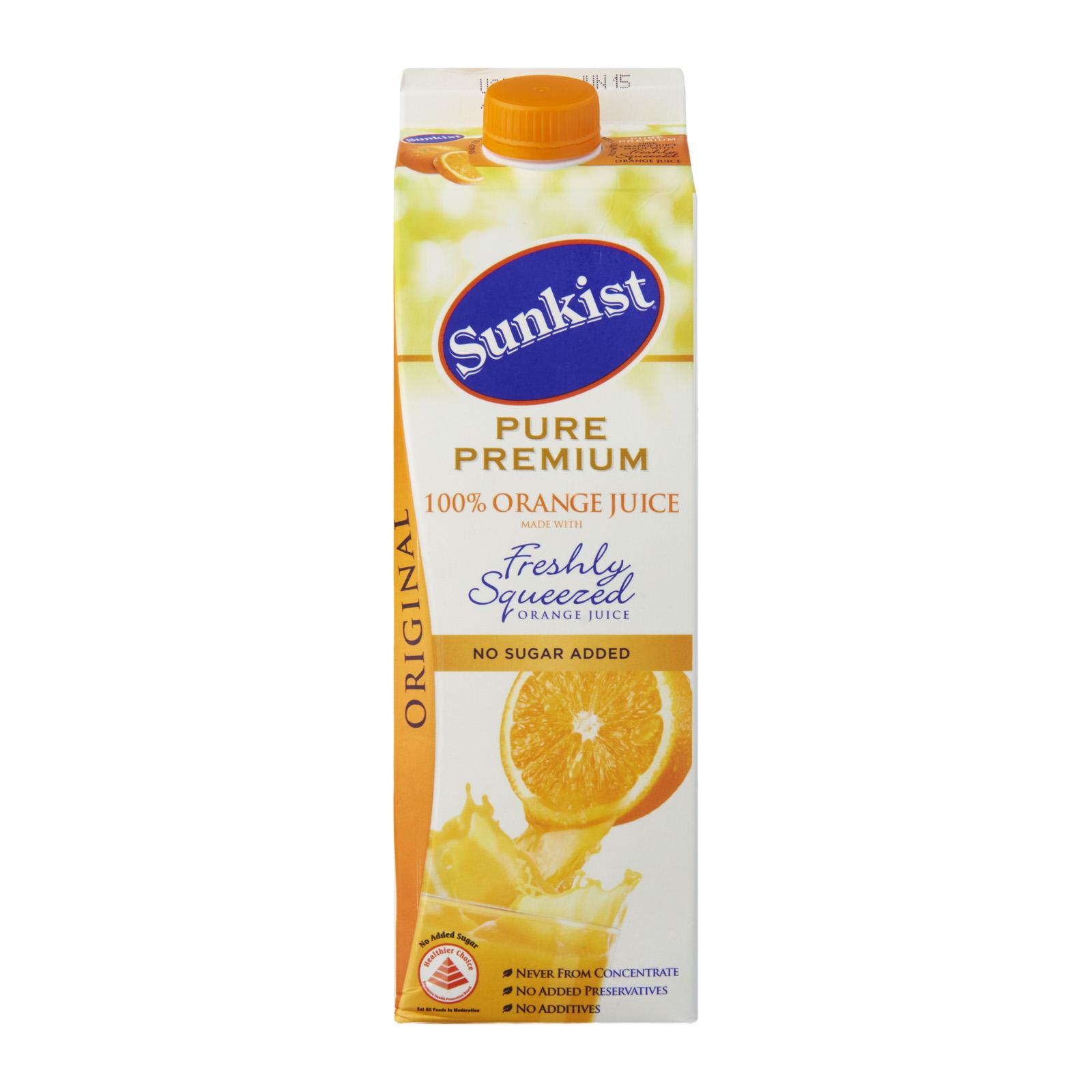 Sunkist 100% Pure Orange Juice - No Added Sugar Or Flavour By Redmart.