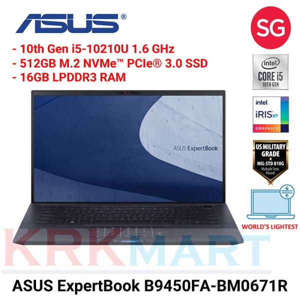 ASUS ExpertBook B9450FA-BM0671R / i5-10210U / 16GB RAM / 512GB PCIE G3X4 SSD / 0.98Kg / Win10 Pro / WiFi 6 / Local-onsite warranty