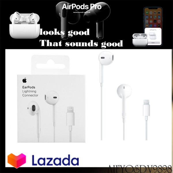 Apple iPhone headset with 3.5mm plug headset Earpods in-ear stereo bass earbud gaming headset, suitable for iPhone 6s 6 Plus 5 5s SE iPad headset, with microphone and volume control 1 year warranty Singapore