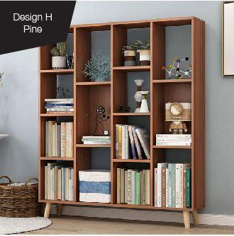 JIJI Lados Standing Euro Bookshelves (DESIGN H) (Free Installation) (Bookcases & Shelving)  - Shelves / Bookcases / Bookshelf / Storage / Organizer /Furniture /Open Cabinet/ Free 12 Months Local Warranty (SG)