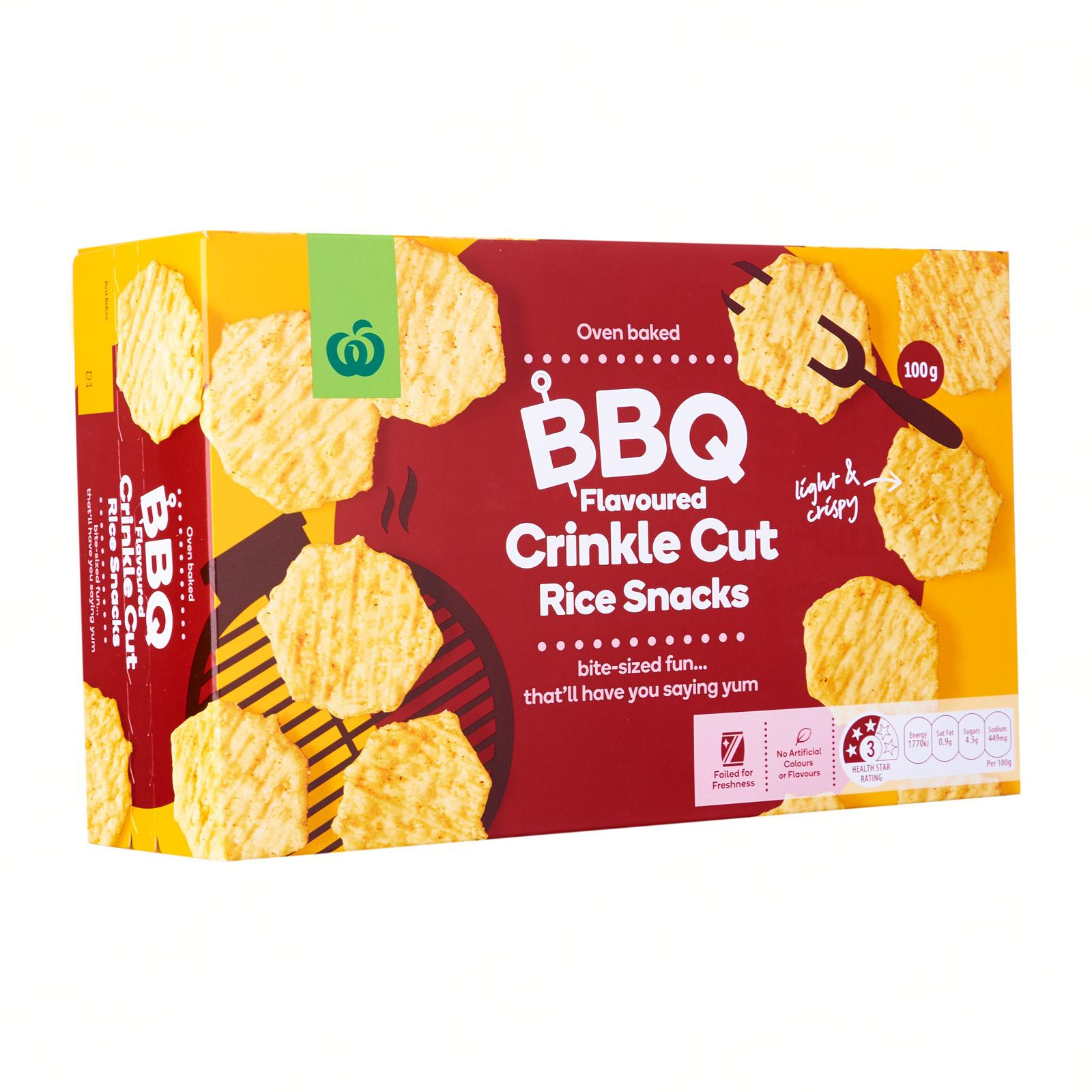 Woolworths Crinkle Cut Rice Crackers Bbq 100G