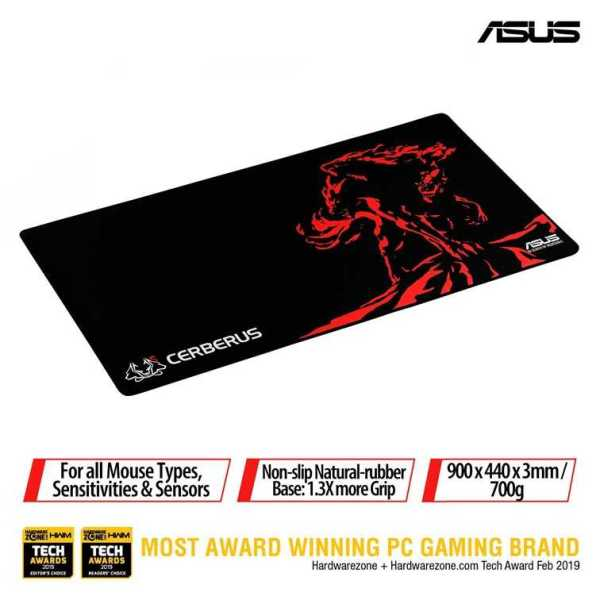 ASUS Cerberus Mat XXL the new gaming mouse pad series, is optimized for gaming with consistent surface texture and non-slip natural rubber