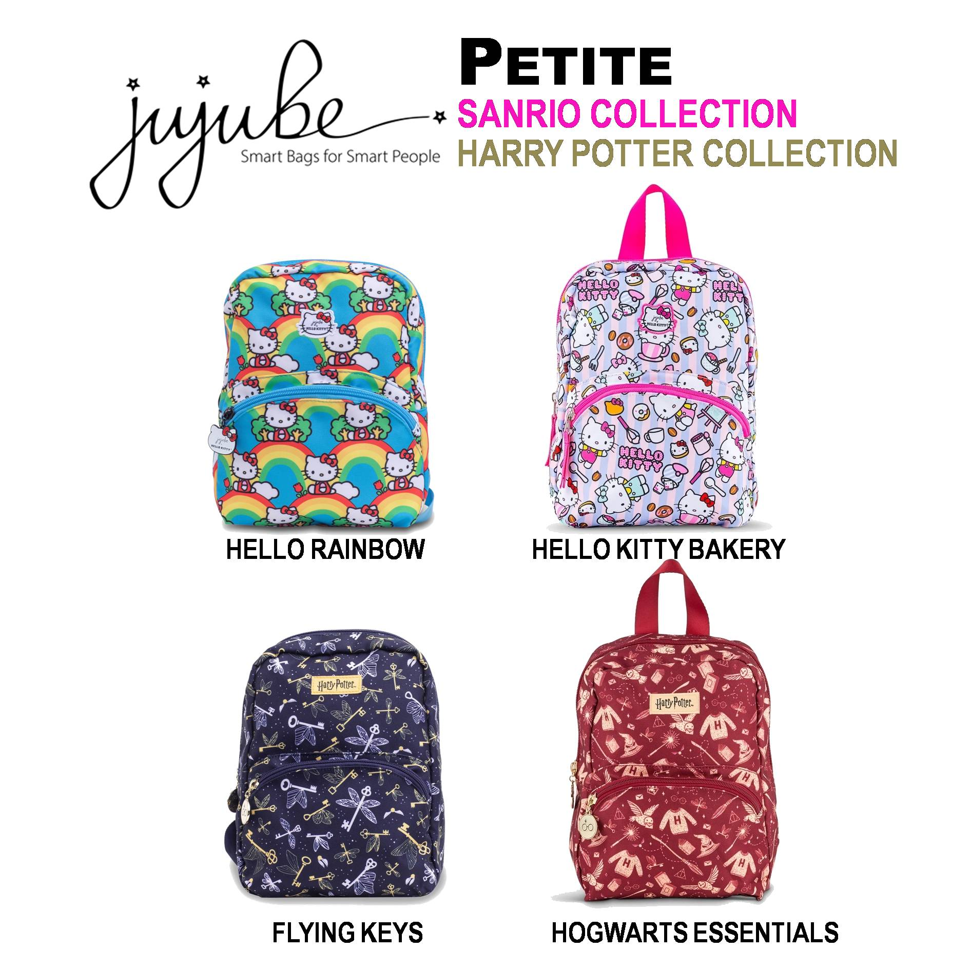 Jujube ∣ Ju-Ju-Be Petite Backpack [ Hello Rainbow . Hello Kitty Bakery . Flying Keys . Hogwarts Essentials ]
