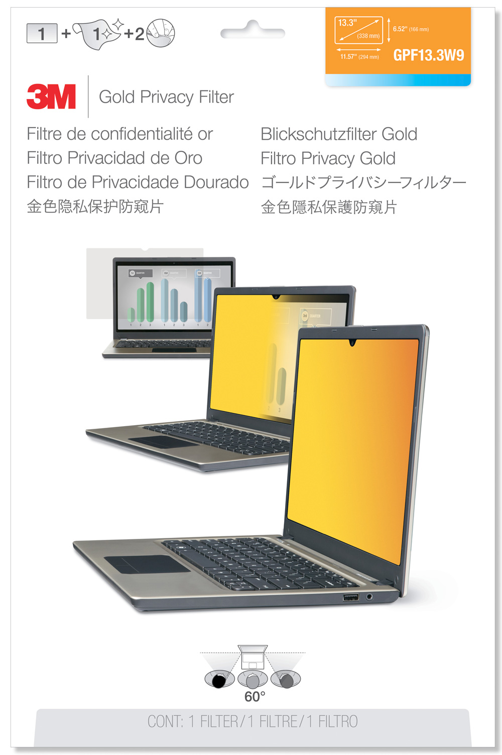 3M Laptop Privacy Filter - Gold - GPF13.3W9