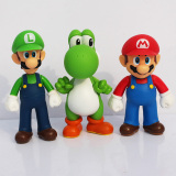 Low Price 3Pcs Set 5Inch Super Mario Bros Pvc Figure Toys 13Cm Luigi Mario Yoshi Action Figures Model Toys