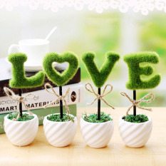 4 pieces Mini love artificial simulation of potted plant decoration festival supplies gift for Valentines Day