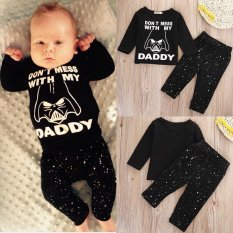 0-24m Infant Baby Boys Black Clothes 2pcs Long Sleeve T-Shirt Tops +pants Outfit Clothing Sets By Children Eden.