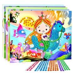 10 Pcs 3d Crystal Mosaics Sticker Creative Art Sticker Intelligent Development Toys Christmas Birthday Gift (random Send) Style:large By Redcolourful.