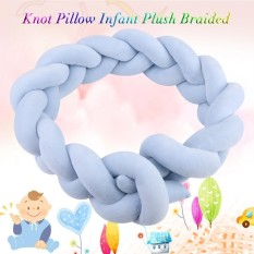 100Cm Knot Pillow Infant Plush Braided Crib Bumper Baby Kids Bedroom Decor Blue Intl Price