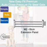 Price 18 Cm Extension Panel For M2 New Easy Fit Steel Premium Safety Gate For Baby Kid Children Pet Dog No Drilling Pressure Fit Auto Close 2 Way Swing Back Easy To Install On Singapore