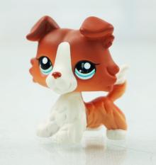 2'' Brown White Collie Dog Puppy Littlest Pet Shop LPS 1542 Blue Eyes Kids