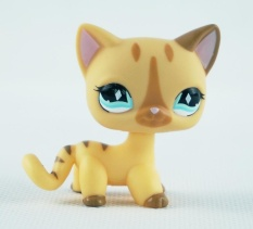 2 Inches Littlest Pet Shop LPS #886 Diamond Blue Eyes Pink Ears Tan Short Hair